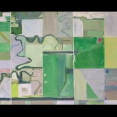"""Kansas River and Fields, Oil and Acrylic (24""""x40"""")"""