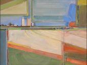 """Nebraska Fields and Silos, Oil and Collage on Panel (24""""x32"""")"""