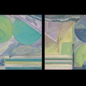 """Two Square Miles, Diptych, Oil (24""""x24"""" each)"""